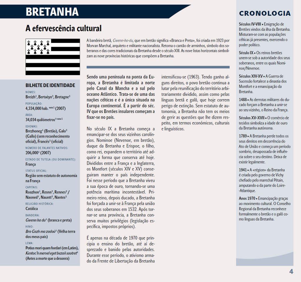 Uma das páginas dedicadas à Bretanha neste Atlas