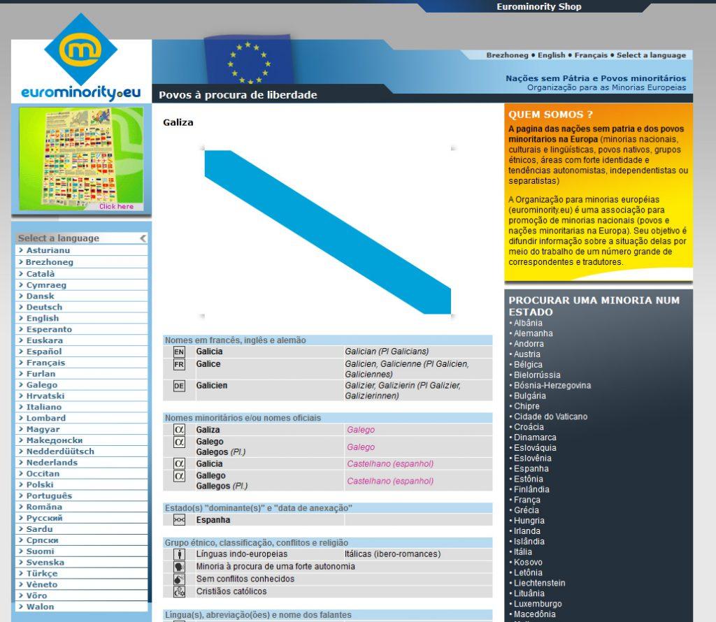 Ficha da Galiza no site Eurominority