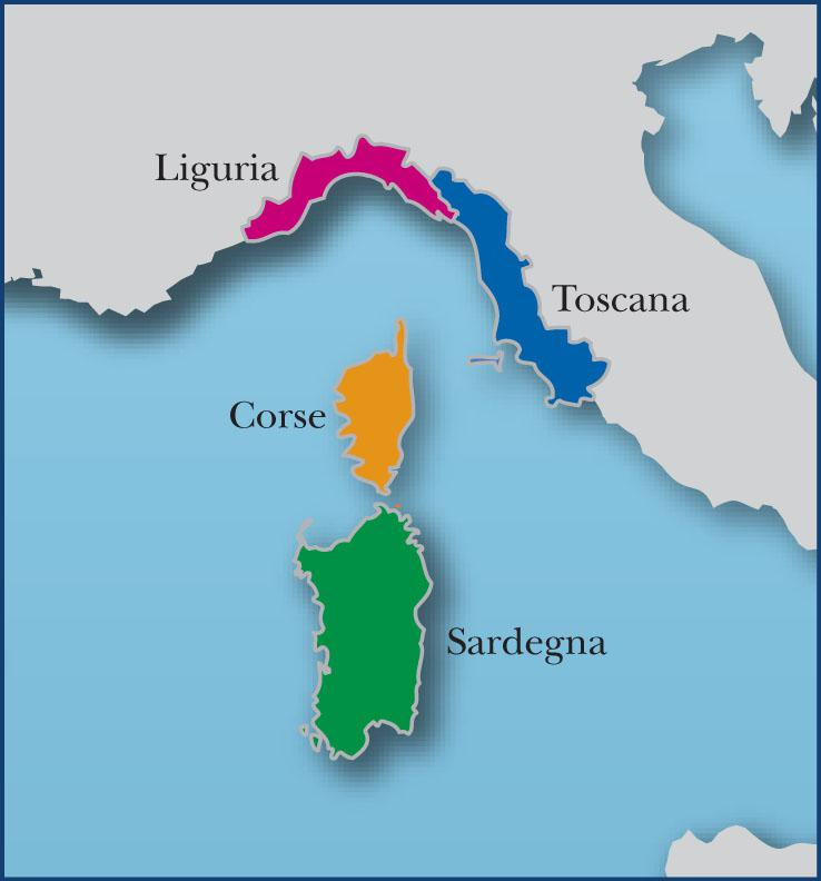 Mapa da Córsega juntamente com o daquelas regiões italianas que mais influência exerceram na ilha
