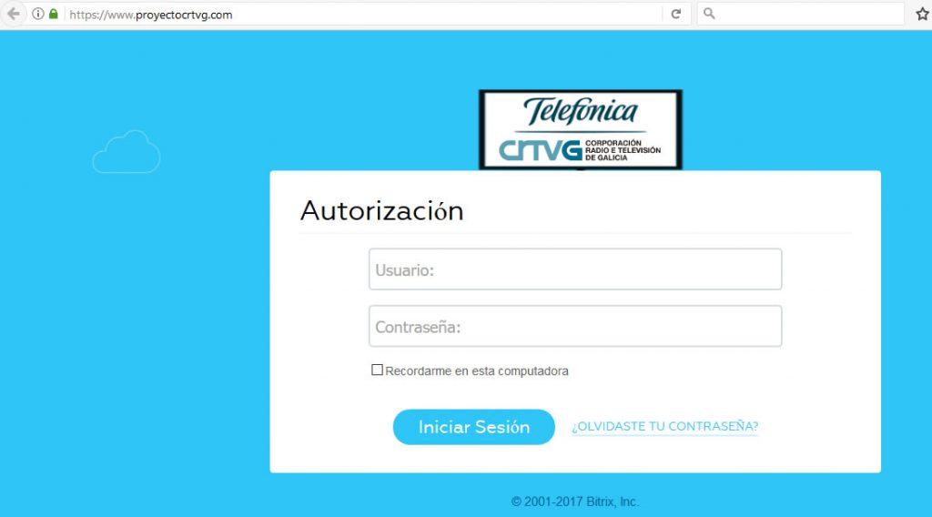 Captura de ecrã da página inicial de proyectocrtvg.com
