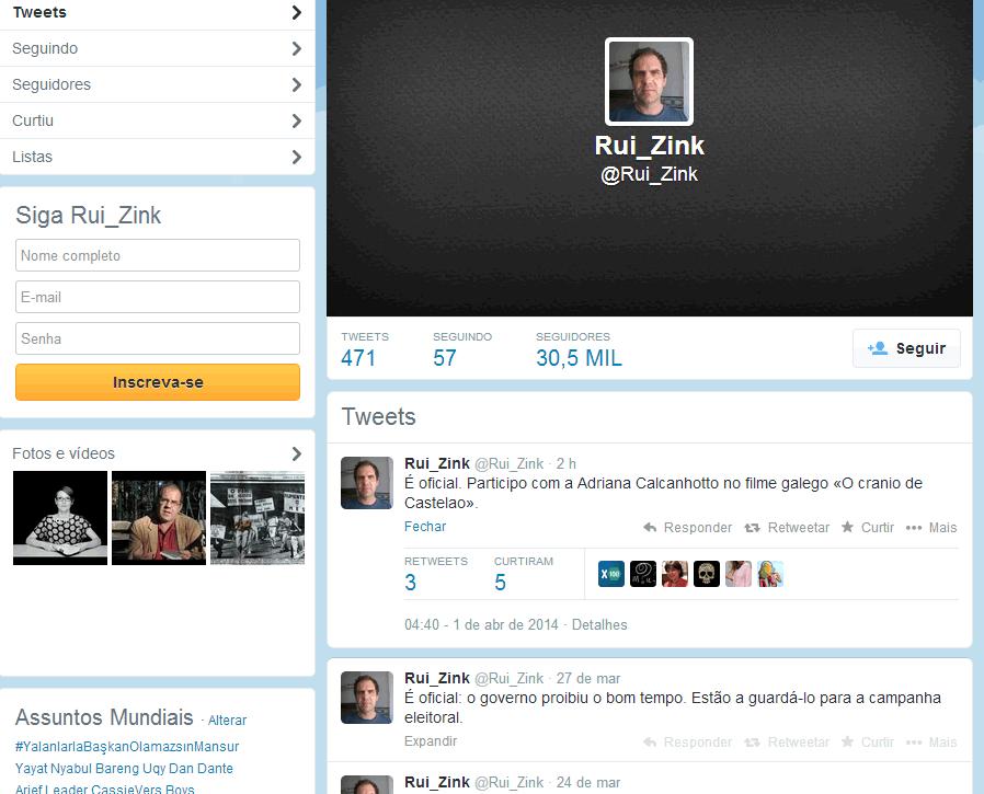 twitter de Rui Zink