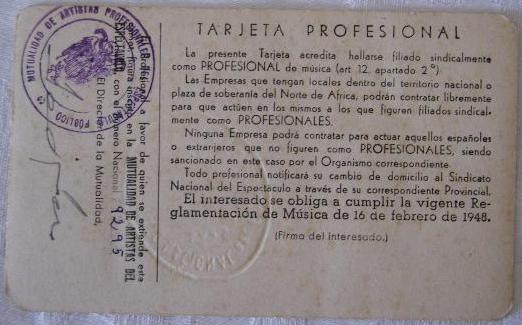 Sindicato Nacional del Espectáculo (tarjeta profesional)