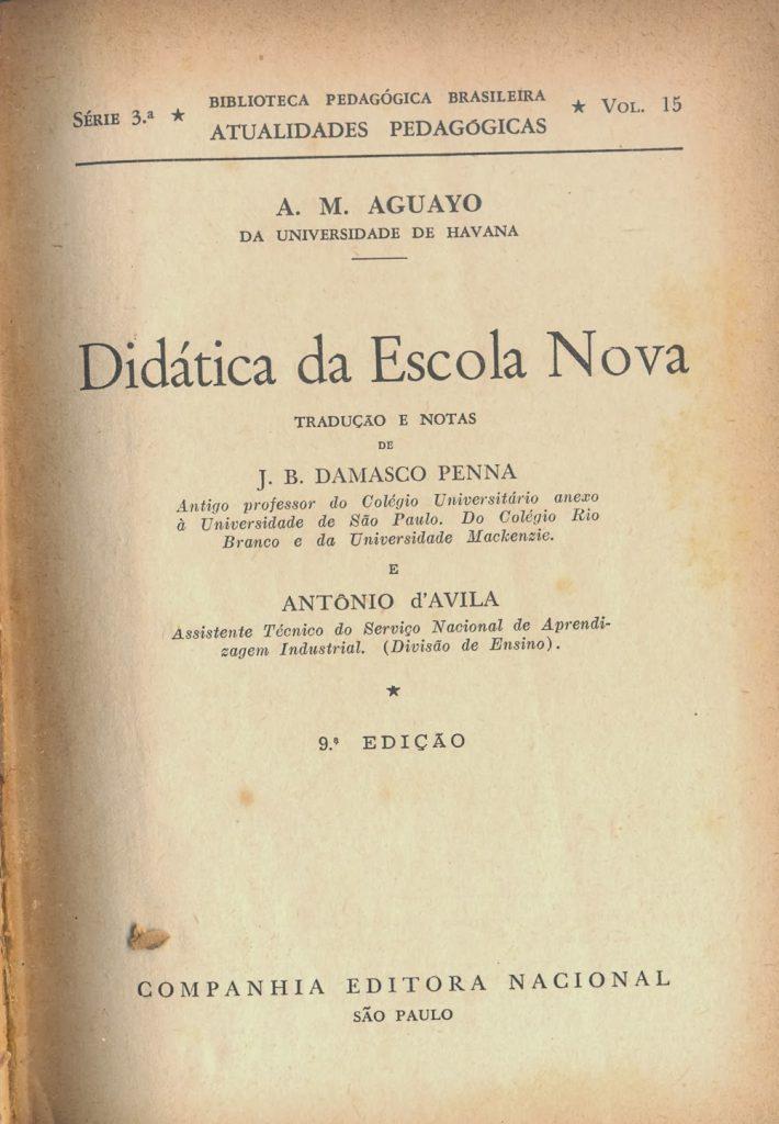 Escola Nova livro sobre sua Didatica