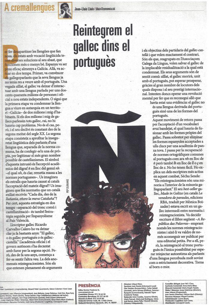 Artigo original na revista 'Presència'