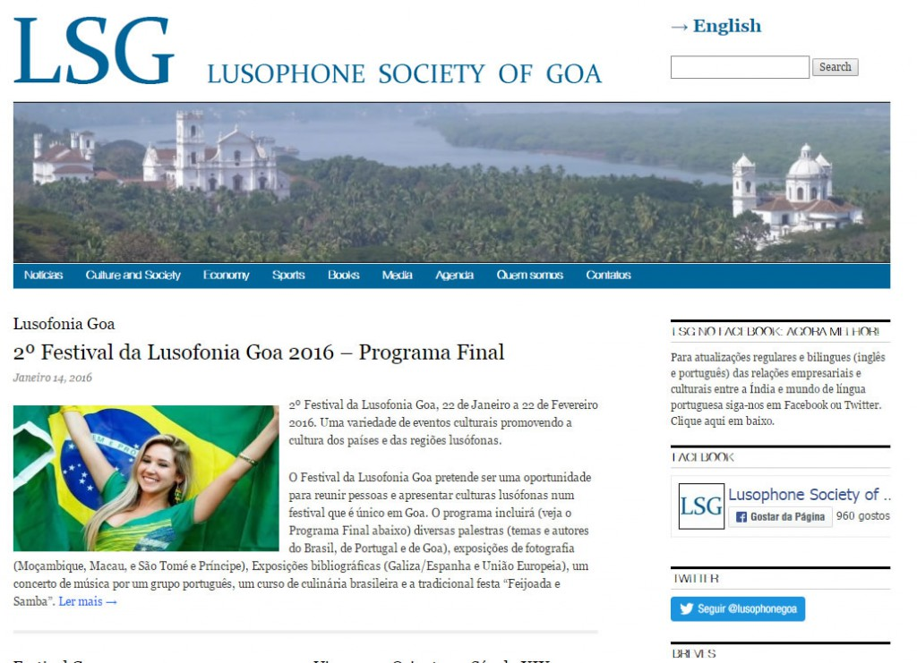 Captura de ecrã do sítio web da Sociedade Lusófona de Goa