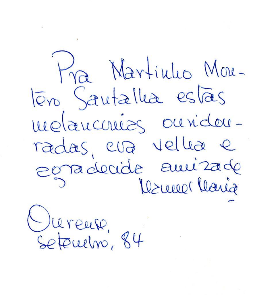 Dedicatória de Manuel Maria a Montero Santalha em 'A luz ressuscitada'