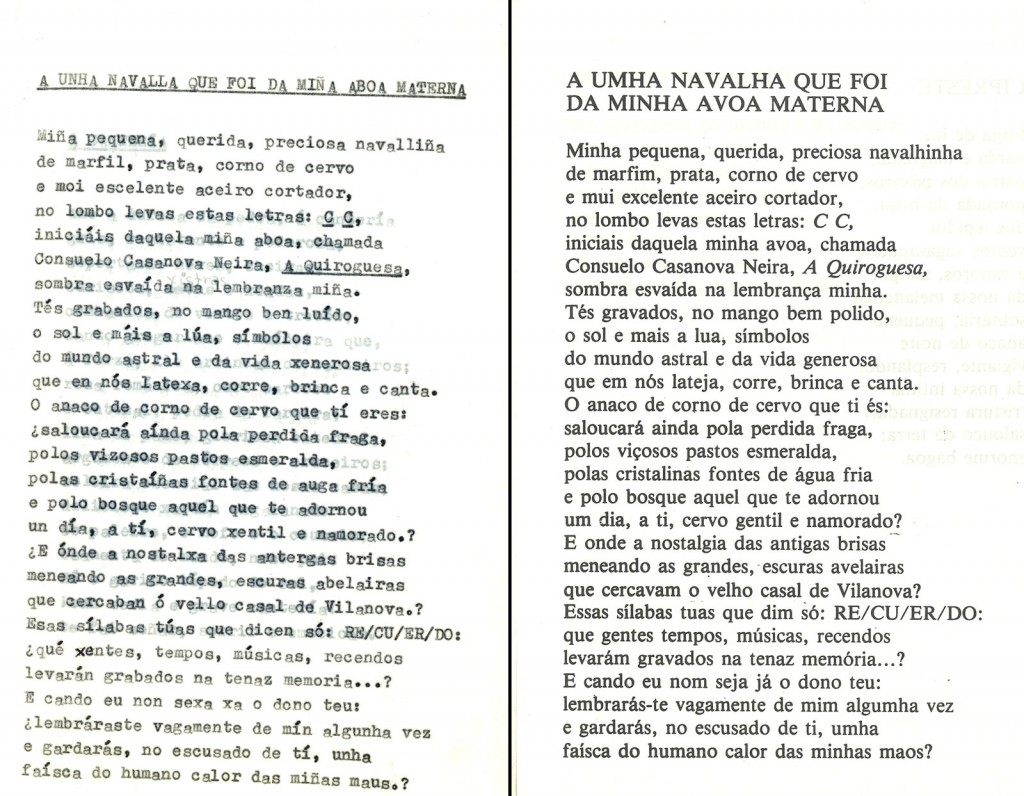 O mesmo poema, no mecanoscrito original e na ediçom final