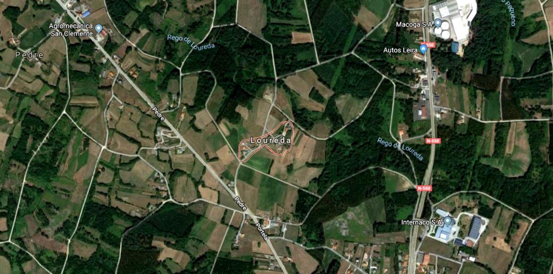 Mapa de Loureda, em Leira, Ordes.